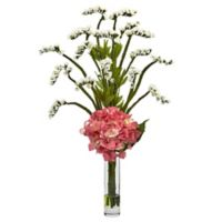 Nearly Natural 22-Inch Hydrangea and Statice Bud Arrangement in White/Pink