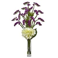 Nearly Natural 22-Inch Hydrangea and Statice Bud Arrangement in Purple/White