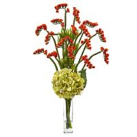 Nearly Natural 22-Inch Hydrangea and Statice Bud Arrangement in Green/Orange