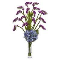 Nearly Natural 22-Inch Hydrangea and Statice Bud Arrangement in Blue/Purple