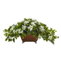 Nearly Natural 17-Inch Bougainvillea in Metal Planter in White