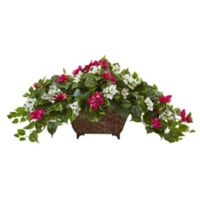 Nearly Natural 17-Inch Bougainvillea in Metal Planter in Burgundy/White