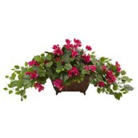 Nearly Natural 17-Inch Bougainvillea in Metal Planter in Burgundy