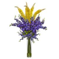 Nearly Natural 46-Inch Delphinium and Foxtail Floral Arrangement in Yellow