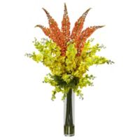 Nearly Natural 46-Inch Delphinium and Foxtail Floral Arrangement in Orange
