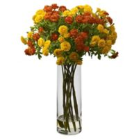 Nearly Natural 17-Inch Japanese Flowers with Glass Vase in Orange/Yellow