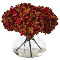 Nearly Natural 8.5-Inch Hydrangea Arrangement in Rust with Glass Vase
