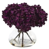 Nearly Natural 8.5-Inch Hydrangea Arrangement in Purple with Glass Vase
