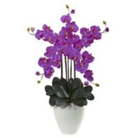 Nearly Natural 50-Inch Giant Phalaenopsis Orchid in Purple with Oval Planter