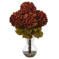 Nearly Natural 18-Inch Hydrangea Arrangement in Rust with Glass Vase