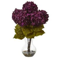 Nearly Natural 18-Inch Hydrangea Arrangement in Purple with Glass Vase
