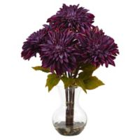 Nearly Natural 17-Inch Dahlia Arrangement in Purple with Glass Vase