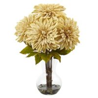 Nearly Natural 17-Inch Dahlia Arrangement in Cream with Glass Vase