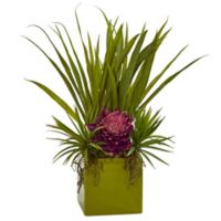 Nearly Natural 18-Inch Mauve Tropical Flower and Succulent Arrangement with Green Cube