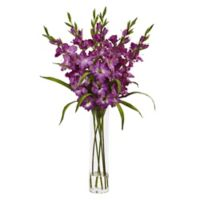 Nearly Natural 35-Inch Gladiola Arrangement in Purple with Glass Cylinder