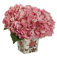Nearly Natural 9.5-Inch Hydrangea in Pink with Decoupage Planter