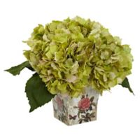 Nearly Natural 9.5-Inch Hydrangea in Green with Decoupage Planter