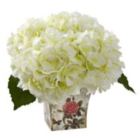 Nearly Natural 9.5-Inch Hydrangea in Cream with Decoupage Planter
