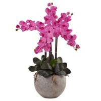 Nearly Natural 36-Inch Phalaenopsis Orchid Arrangement in Dark Pink with Sand Colored Bowl