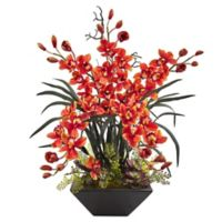 Nearly Natural 36-Inch Cymbidium Orchid in Burgundy with Black Trapezoid Planter