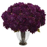 Nearly Natural 27-Inch Dahlia Arrangement in Purple with Ribbed Glass Vase