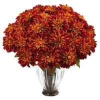 Nearly Natural 27-Inch Dahlia Arrangement in Orange with Ribbed Glass Vase