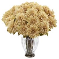 Nearly Natural 27-Inch Dahlia Arrangement in Cream with Ribbed Glass Vase
