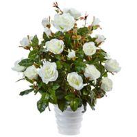 Nearly Natural 21-Inch White Rose Bush in White Swirl Pot