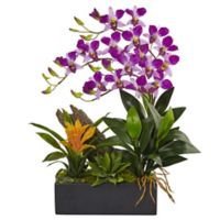 Nearly Natural 23.5-Inch Dendrobium Orchid and Bromeliad with Black Planter in Purple