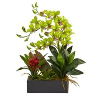 Nearly Natural 23.5-Inch Dendrobium Orchid and Bromeliad with Black Planter in Green