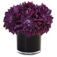 Nearly Natural 11-Inch Purple Dahlia Mum Arrangement in Black Glass Pot