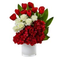 Nearly Natural 21-Inch Tulip, Rose and Hydrangea Arrangement in Red