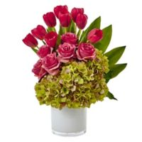 Nearly Natural 21-Inch Tulip, Rose and Hydrangea Arrangement in Pink
