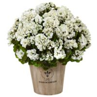 Nearly Natural 22-Inch White Geraniums in Wood Bucket