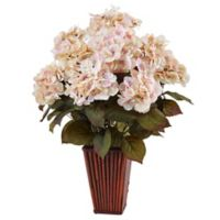 Nearly Natural 24.5-Inch Cream/Pink Hydrangea in Bamboo Planter