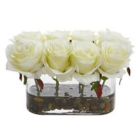 Nearly Natural 5.5-Inch White Rose Arrangement in Glass Tub Vase