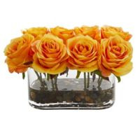 Nearly Natural 5.5-Inch Orange/Yellow Rose Arrangement in Glass Tub Vase