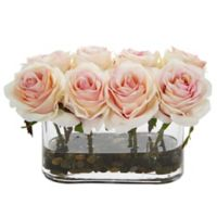 Nearly Natural 5.5-Inch Light Pink Rose Arrangement in Glass Tub Vase