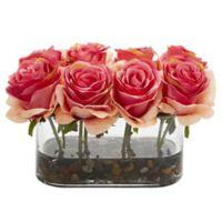 Nearly Natural 5.5-Inch Dark Pink Rose Arrangement in Glass Tub Vase