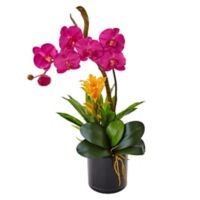 Nearly Natural 26-Inch Dark Pink Orchid and Bromeliad Arrangement in Black Glass Pot