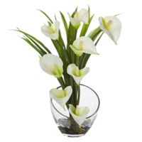 Nearly Natural 15.5-Inch Cream Calla Lily and Grass Arrangement in Glass Cutaway Bowl
