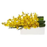 Nearly Natural 10-Inch Yellow Dancing Lady Orchid Arrangement in White Rectangular Planter