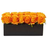 Nearly Natural 6-Inch Orange/Yellow Rose Arrangement in Black Rectangular Planter