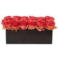 Nearly Natural 6-Inch Dark Pink Rose Arrangement in Black Rectangular Planter