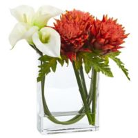Nearly Natural 12-Inch White/Orange Calla Lily and Artichoke in Glass Tall Rectangular Planter