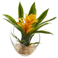 Nearly Natural 8-Inch Yellow Bromeliad Arrangement in Glass Cutaway Bowl