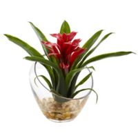 Nearly Natural 8-Inch Red Bromeliad Arrangement in Glass Cutaway Bowl