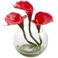 Nearly Natural 9-Inch Red Calla Lily Arrangement in Glass Bowl