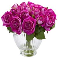 Nearly Natural 9-Inch Purple Rose Arrangement in Ribbed Glass Vase