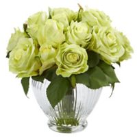 Nearly Natural 9-Inch Green Rose Arrangement in Ribbed Glass Vase